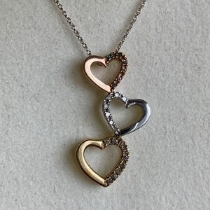 10K Rose, White, & Yellow Gold 3 Heart Necklace